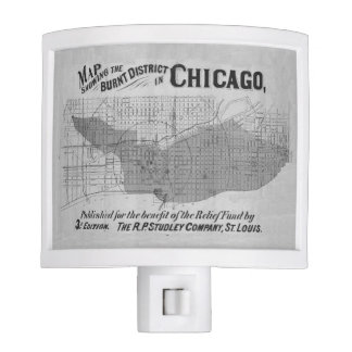 1871 Chicago Fire Map Night Lite