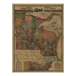 1871 railroad/post office map of MN and WI Poster