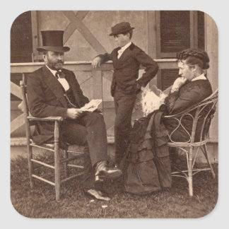 1872 President Grant with Family at Cottage Square Sticker