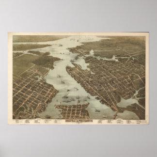 1873 Norfolk  Portsmouth VA BirdsEye Panoramic Map Poster
