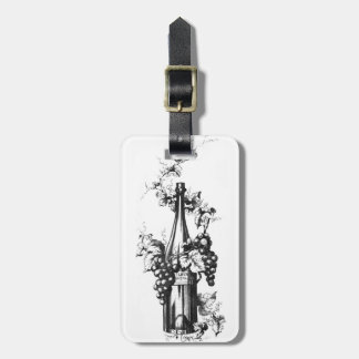 1873 Vintage Wine Bottle with Grapes and Leaves Luggage Tag