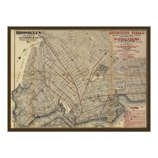 1874 Brooklyn City Railroad Company Route Map Poster
