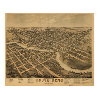 1874 South Bend, IN Birds Eye View Panoramic Map Poster