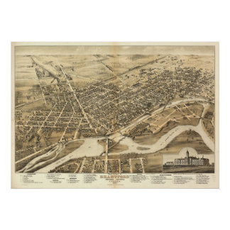 1875 Brantford, Ontario Bird's Eye Panoramic Map Poster