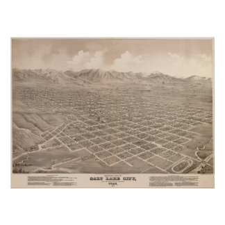 1875 Salt Lake City, UT Bird's Eye Panoramic Map Poster