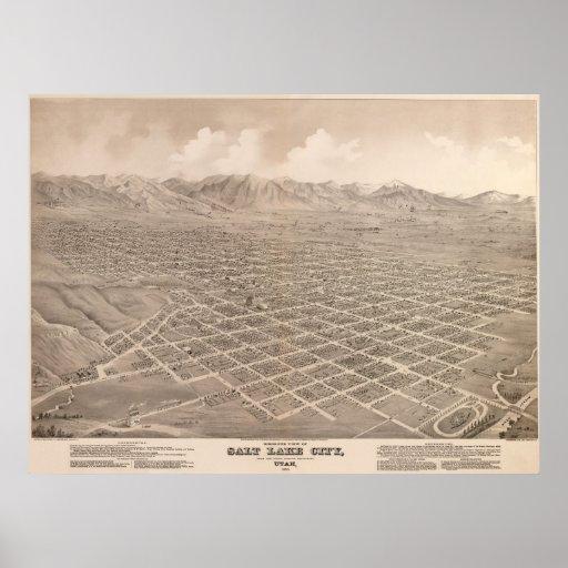 1875 Salt Lake City, UT Bird's Eye Panoramic Map Poster