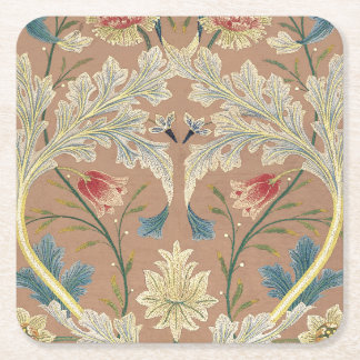 1875 Vintage William Morris Floral Embroidery Square Paper Coaster