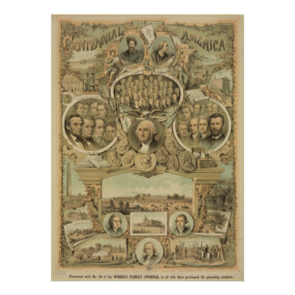 1876 Centennial America United States Independence Poster