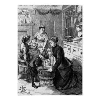 1876: The children help stir Christmas pudding Poster