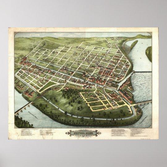 1877 Holyoke, MA Birds Eye View Panoramic Map Poster
