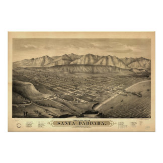 1877 Santa Barbara CA Birds Eye View Panoramic Map Poster