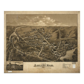 1878 Ashland, MA Birds Eye View Panoramic Map Poster