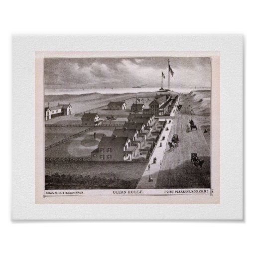 1878 REPRO Print Ocean House, Point Pleasant, NJ