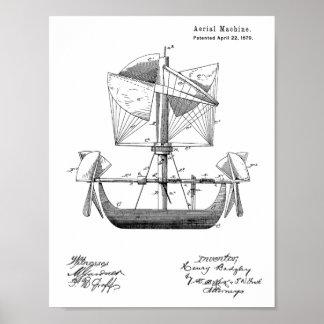 1879 Airship Boat Airplane Patent Drawing Print