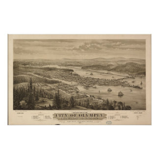 1879 Olympia, WA Birds Eye View Panoramic Map Poster