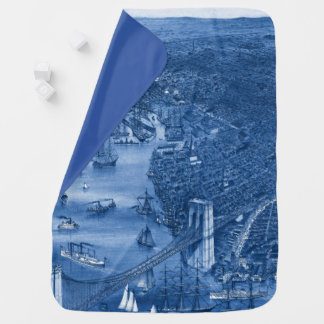 1879 Vintage Brooklyn Map Baby Blanket in Blue