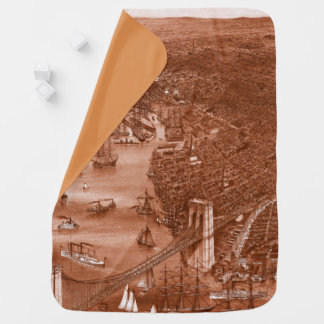1879 Vintage Brooklyn Map Baby Blanket in Orange