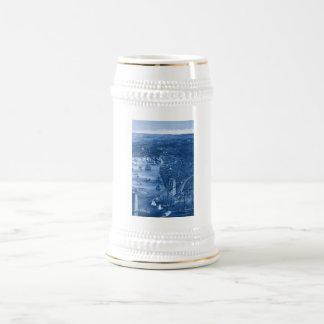 1879 Vintage Brooklyn Map Beer Stein in Blue