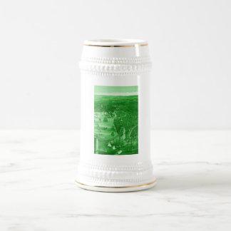 1879 Vintage Brooklyn Map Beer Stein in Green