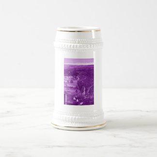 1879 Vintage Brooklyn Map Beer Stein in Purple