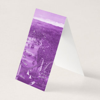 1879 Vintage Brooklyn Map Business Cards in Purple