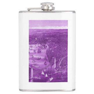 1879 Vintage Brooklyn Map Flask in Purple