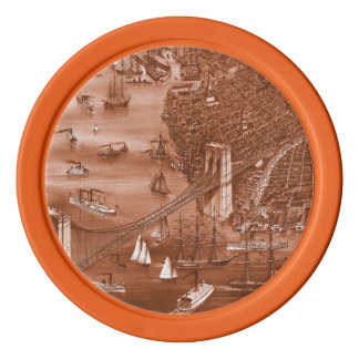 1879 Vintage Brooklyn Map Poker Chips in Orange