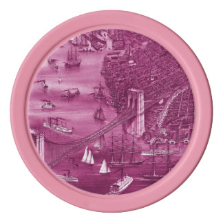 1879 Vintage Brooklyn Map Poker Chips in Pink