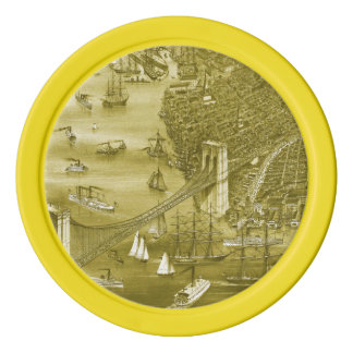 1879 Vintage Brooklyn Map Poker Chips in Yellow