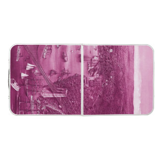 1879 Vintage Brooklyn Map Pong Table in Pink