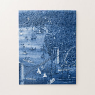 1879 Vintage Brooklyn Map Puzzle in Blue