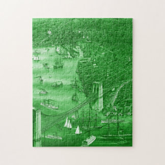 1879 Vintage Brooklyn Map Puzzle in Green