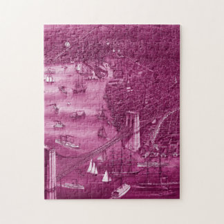 1879 Vintage Brooklyn Map Puzzle in Pink