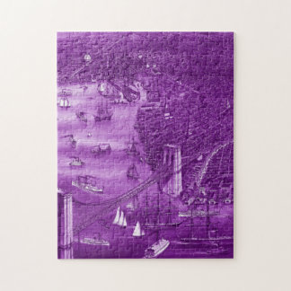 1879 Vintage Brooklyn Map Puzzle in Purple