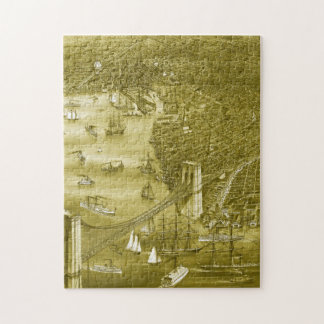 1879 Vintage Brooklyn Map Puzzle in Yellow