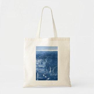 1879 Vintage Brooklyn Map Tote Bag in Blue