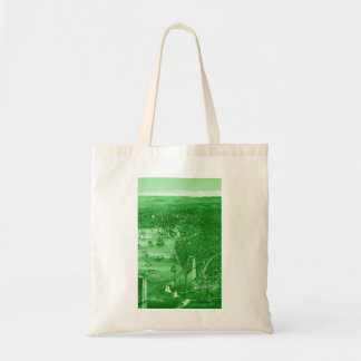 1879 Vintage Brooklyn Map Tote Bag in Green