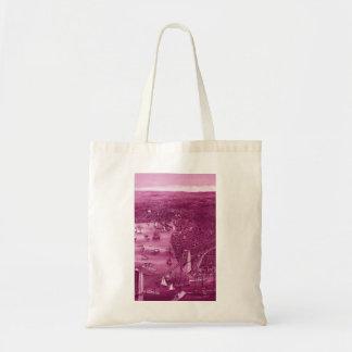 1879 Vintage Brooklyn Map Tote Bag in Pink