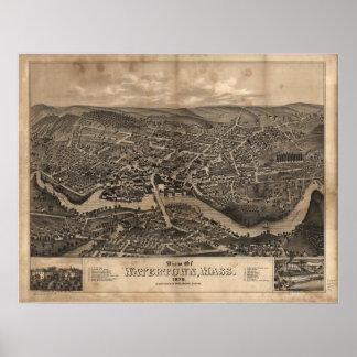 1879 Watertown, MA Birds Eye View Panoramic Map Poster