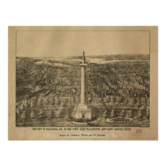 1880 Baltimore, MD Bird's Eye View Panoramic Map Poster