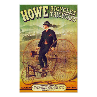 1880 Howe Bicycles & Tricycles Poster