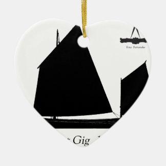 1880 Pilot Gig - tony fernandes Ceramic Heart Ornament