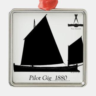 1880 Pilot Gig - tony fernandes Silver-Colored Square Ornament