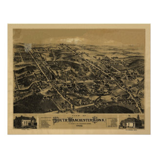 1880 South Manchester CT Birds Eye Panoramic Map Poster