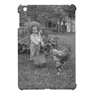1880's Adorable Girl and Rooster Cart in Garden Case For The iPad Mini