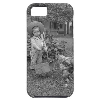 1880's Adorable Girl and Rooster Cart in Garden Case For The iPhone 5