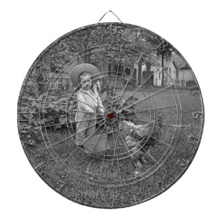 1880's Adorable Girl and Rooster Cart in Garden Dartboard