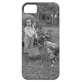 1880's Adorable Girl and Rooster Cart in Garden iPhone 5 Cover