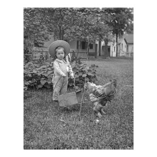 1880's Adorable Girl and Rooster Cart in Garden Letterhead