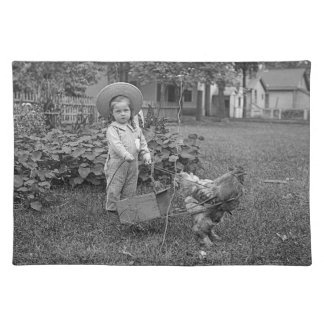 1880's Adorable Girl and Rooster Cart in Garden Placemat